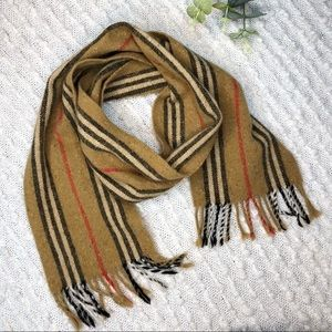 Burberry icon striped fringe lambswool scarf